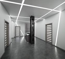 Устройство светодиодных линий на натяжном потолке и их основные преимущества
